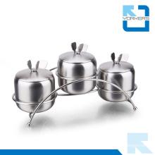 3 Pieces Stainless Steel Spice Condiment Storage Pot Salt Pepper Bottle