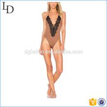 Traje de baño femenino acanalado de la costura posterior pierna alta más traje de baño del tamaño