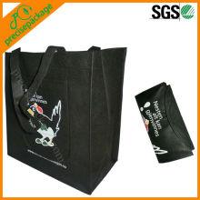 Reusable black color foldable pp non woven shopping carry bag (PRF-8115)