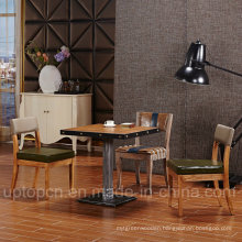 Wooden Restaurant Furniture Set with Square Table and Dark Green Upholstery Chair (SP-CT831)