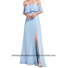 Bridesmaid Dress Neck Ruffles Split-Word Long Chiffon Silk Party Dress