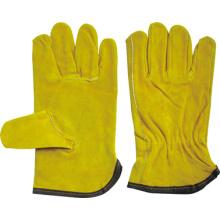 Gelber Rindspaltleder Keystone Thumb Driver Handschuh-9203