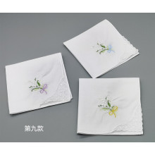 Flower White Handkerchief Embroidery Ladies Lace