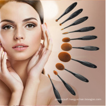 China Supplier 10PCS Black Oval Cosmetic Brush Set for Beauty