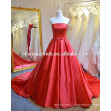 High Quality Strapless Satin Long Evening Dress Lace Up Back Long Train Evening Ball Gown