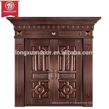 Portes d'entrée personnalisées en usine, porte double en bronze battant, porte cuivre de villa