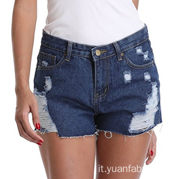 Pantaloncini Shorts in denim a vita media con frange sfilacciate da donna