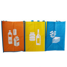 Cheap Reusable sorted garbage colorful promotion Recycled plastic Woven Standard Size Shopping Bag