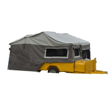 small pop-up camper trailer with stainless wheel
