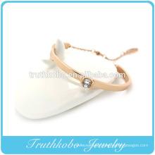 Plating Gold Laser Cut Crystal Bangle Stainless Steel Rubber Band Bracelet Patterns Design For Women