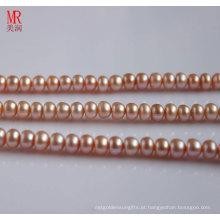 9-10mm Pink Fresh Water Pearl Strand, Round Button (ES122)