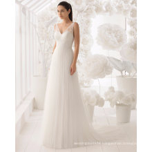 Sexy Open Back V Neck Lace and Tulle Bridal Dress Wedding Gown