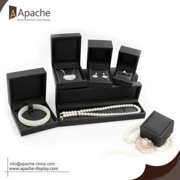 Black Brushed PU Ring Bracelet Pendant Jewelry Set Box
