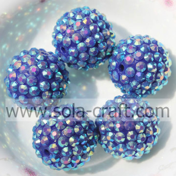 Big Sale Blue AB 20*22MM Solid Resin Rhinestone Beads DIY Kids Necklace