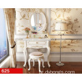 White Wood Mirror French style Simple Dressing Table With Drawer