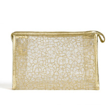 Lady Fashion Golden Nylon Mesh Cosmetic Clutch Wash Pouch (YKY7536-2)