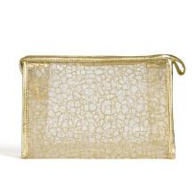 Леди моды Золотой нейлоновая сетка косметический клатч мыть мешок (YKY7536-2)
