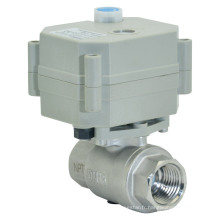 Vanne à bille à eau électrique à 2 voies de 1/2 pouce à 2 voies Soupape à l'acier inox à débit motorisé avec fonctionnement manuel (T15-S2-B)