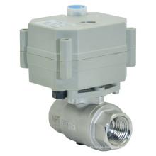 Válvula de esfera de água elétrica atuada de 1/2 vias 2 vias Válvula de aço inoxidável de fluxo motorizado com operação manual (T15-S2-B)