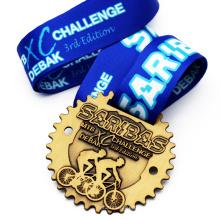 Cheap Professional Sport Medal Manufacturer Custom Gear Shape Walking Brushed Award Medal