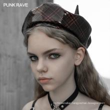 Punk Rave OPS-176DQF Sexy lady girls plus size militery punk plain little demon beret women cap