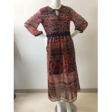 Printed Chiffon Long Dress With Lining