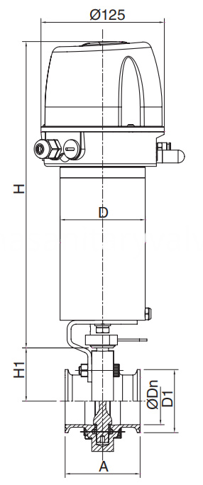 Sanitary Intelligent Pneumatic Butterfly Valve Clamp 3A,SMS.