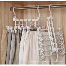 Saving space multifunction rotating cascading plastic foldable clothes hanger rack trousers hangers with clips