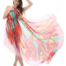 Hot sale fashion design pareo printing long sunscreen shawl silk beach scarf