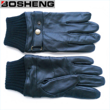 Winter Black Leather Gloves with Knitted Cuff & Strap