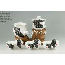 """""""Notícia pintura de papel"""" Porcelana de chá Set-1Gaiwan, 1Pitcher e 6 copos"""