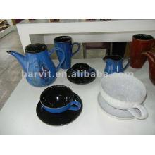 De gres de pintura a mano y juego de té de esmalte reactivo