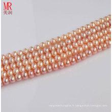 Collier à perles d'eau douce semi-fini à 7-8mm