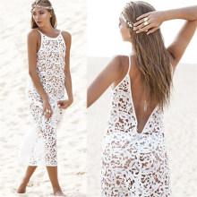 Westlichen Stil sexy weiße Spitze Maxi Beach Party Kleid (50150)
