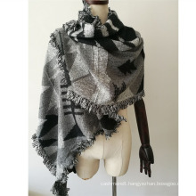Women′s Cashmere Like Knitted Winter Heavy Triangle Geometry Printing Shawl Scarf (SP300)