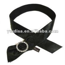Mulheres PU cinto com PU preto, strass claro, liga acessórios com ródio chapeado