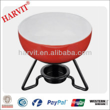 Wholesale Chocolate Fondue Set / Ceramic Red Cooking Pots With Metal Stand / Pizza Cheese Fondue