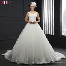 SL-3012 V-neck Backless Sleeeless Belt Wedding Dress