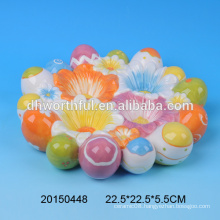Promotional colorful decorative egg stands,ceramic egg tray with beautiful flower painting