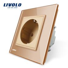 Livolo EU Standard Prises de courant Panneau de verre en cristal d'or AC220 ~ 250V 16A Prise murale VL-C7C1EU-13