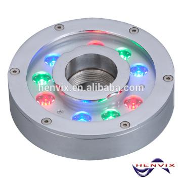 O mais vendido 9 * 3W RGB conduziu a luz do anel da fonte submersível, luz da fonte 12v