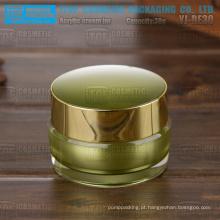 Frascos de embalagens de cosméticos acrílico verde YJ-30 30g cor personalizável elegante 1oz ouro