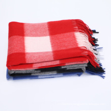 2017 hot selling pashmina shawls plaid pattern 100% Mongolia cashmere scarf
