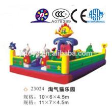JQ23024 gigante inflable parque travieso gato sentarse y saltar pelotas saltando bouncer