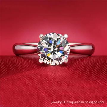 Wedding Band Engagement Bridal 14K White Gold Rings for Women Round Cut Zirconia Ring