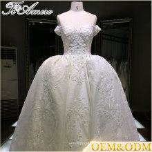 Semitransparente Appliqued Pavimento Comprimento Beaded Crystal Li Binding vestidos de noiva com vestido de bola 2016