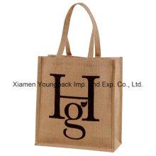 Logotipo personalizado promocional impreso Eco amigable bolsa de yute natural reutilizable