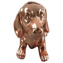 Покрытие Медь Собака Форма Керамическая банк свинкою для домашнего украшения