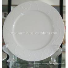 Placa de cerámica, placa de porcelana, placa de cena con relieve