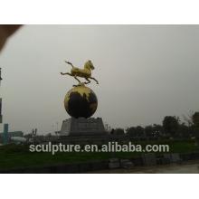 Edelstahl Skulpturen moderne große Metall Messing Pferd Skulptur für Outdoor-Dekoration
